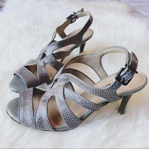 Antonio Melani Strappy Snakeskin Heeled Sandals